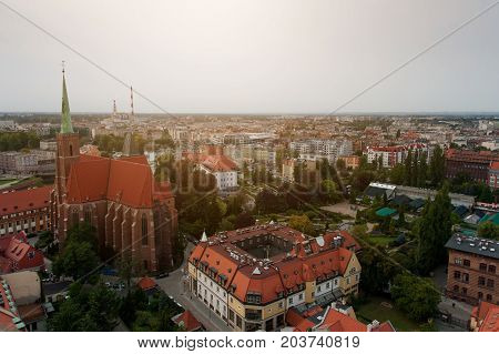 Wroclaw Poland - 8 September 2017. Top view on the historical center of city.