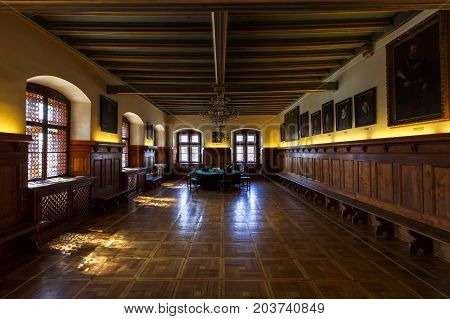 LEVOCA, SLOVAKIA - AUGUST 28, 2017: Interior of historical town hall of the town of Levoca, Slovakia on August 28, 2017.