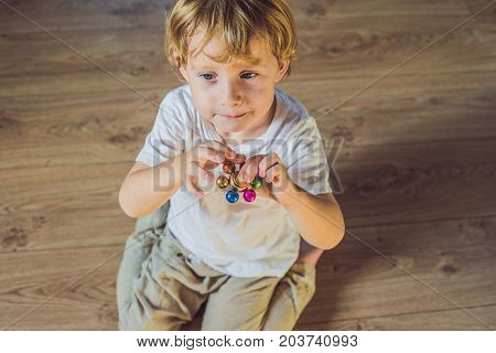 Young Boy Play With Fidget Spinner Stress Relieving Toy