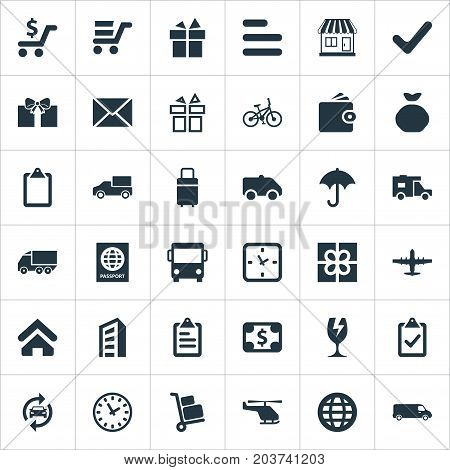 Elements Air Delivery, Lorry, Velocipede And Other Synonyms Check, Trolley And Trailer.  Vector Illustration Set Of Simple Delivery Icons.