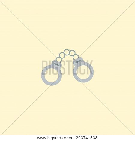 Flat Icon Handcuffs Element. Vector Illustration Of Flat Icon Manacles Isolated On Clean Background