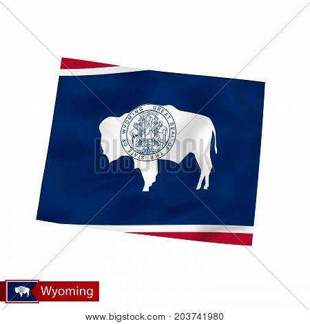 Wyoming State Map With Waving Flag Of Us State.