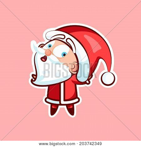 Sticker emoji emoticon, emotion what happens, hey, vector isolated illustration surprised character sweet cute Santa Claus, Father Frost pink background, Happy New Year and Merry Christmas mobile app
