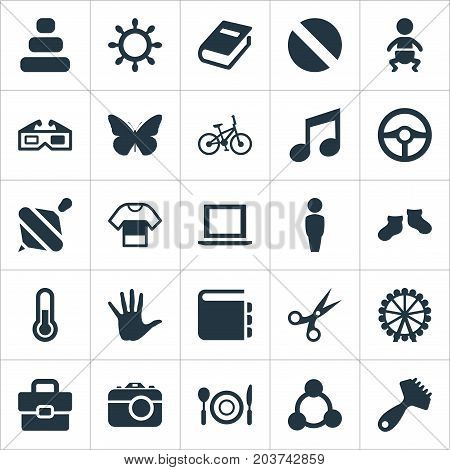 Elements Melody, Textbook, Garment And Other Synonyms Laptop, Balance And Wheel.  Vector Illustration Set Of Simple Infant Icons.