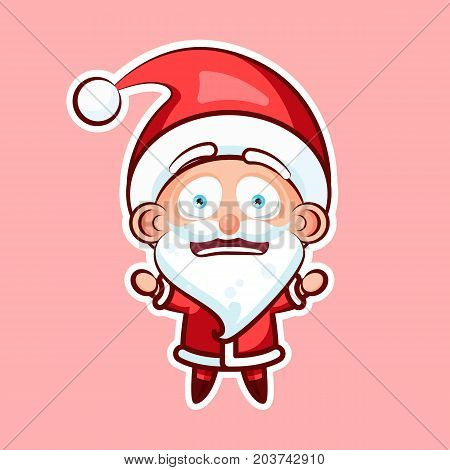 Sticker emoji emoticon, emotion depression, resentment, view from under forehead vector character sweet cute Santa Claus, Father Frost pink background for Happy New Year and Merry Christmas mobile app