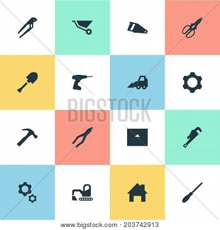 Elements Handsaw, House, Mechanic Key Synonyms Hand, Cutting And Jaws.  Vector Illustration Set Of Simple Industrial Icons.