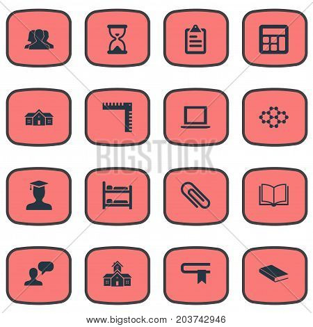 Elements Atom Molecule, Learning, Sandglass Synonyms Bed, Educationalist And Notebook.  Vector Illustration Set Of Simple Education Icons.