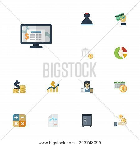 Flat Icons Stock, Safe, Bank And Other Vector Elements