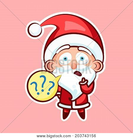 Sticker emoji emoticon, emotion what, misunderstanding, question marks, vector isolated character sweet cute Santa Claus, Father Frost pink background for Happy New Year and Merry Christmas mobile app
