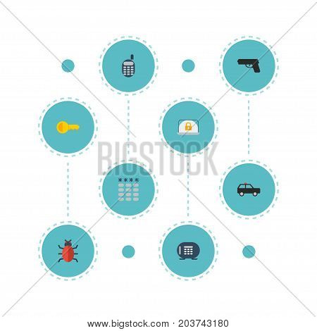 Flat Icons Walkie-Talkie, Keypad, Safe And Other Vector Elements