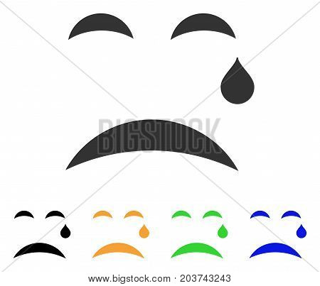 Cry Smile icon. Vector illustration style is a flat iconic cry smile symbol with black, gray, green, blue, yellow color versions. Designed for web and software interfaces.