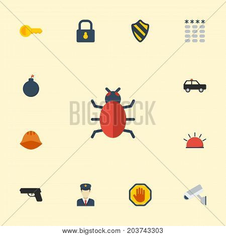 Flat Icons Virus, Clue, Gun And Other Vector Elements