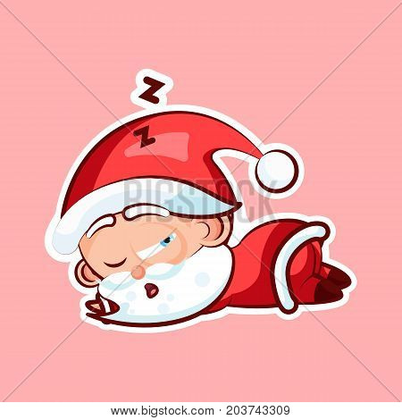 Sticker emoji emoticon, emotion sleep on stomach, lie down, doze, sleepy vector nap character sweet cute Santa Claus, Father Frost on pink background for Happy New Year and Merry Christmas mobile app