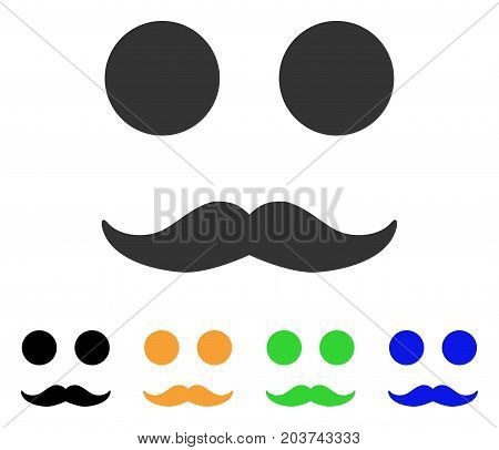 Gentleman Mustaches Smile icon. Vector illustration style is a flat iconic gentleman mustaches smile symbol with black, gray, green, blue, yellow color variants.