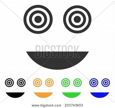 Mad Smile icon. Vector illustration style is a flat iconic mad smile symbol with black, grey, green, blue, yellow color variants. Designed for web and software interfaces.