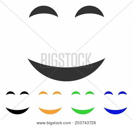 Pleasure Smile icon. Vector illustration style is a flat iconic pleasure smile symbol with black, grey, green, blue, yellow color versions. Designed for web and software interfaces.