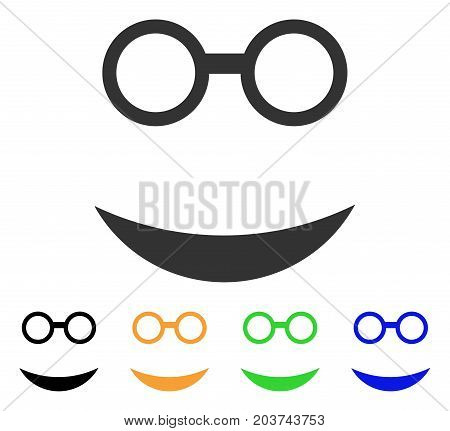 Professor Smile icon. Vector illustration style is a flat iconic professor smile symbol with black, grey, green, blue, yellow color versions. Designed for web and software interfaces.