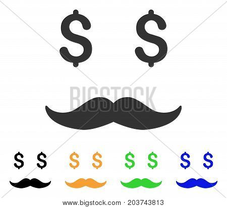 Rich Mustaches Smile icon. Vector illustration style is a flat iconic rich mustaches smile symbol with black, gray, green, blue, yellow color variants. Designed for web and software interfaces.