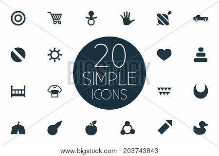 Elements Soother, Clyster, Sparkler And Other Synonyms Medicine, Sphere And Soother.  Vector Illustration Set Of Simple Infant Icons.
