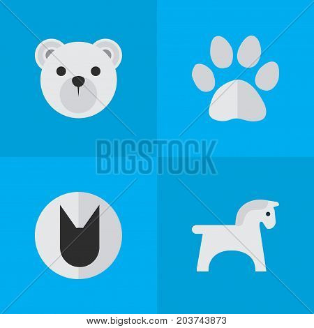 Elements Panda , Tomcat, Steed Synonyms Panda, Animal And Cat.  Vector Illustration Set Of Simple Animals Icons.