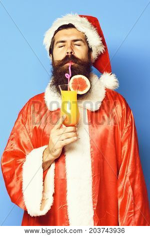 Satisfied Bearded Santa Claus Man