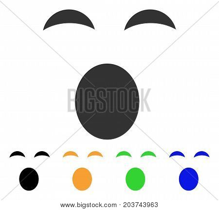 Sleepy Smile icon. Vector illustration style is a flat iconic sleepy smile symbol with black, grey, green, blue, yellow color variants. Designed for web and software interfaces.