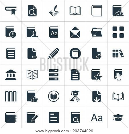 Elements Document Archive, Catalog, Plus Text And Other Synonyms Feathered, Tag And Hanging.  Vector Illustration Set Of Simple Reading Icons.