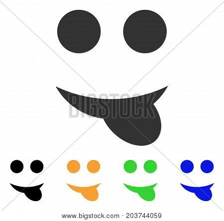 Tongue Smile icon. Vector illustration style is a flat iconic tongue smile symbol with black, grey, green, blue, yellow color versions. Designed for web and software interfaces.