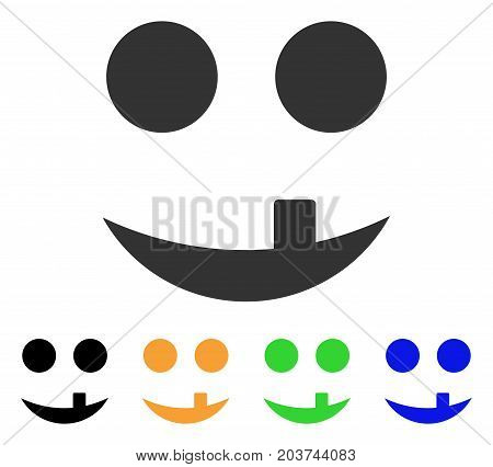 Tooth Smile icon. Vector illustration style is a flat iconic tooth smile symbol with black, gray, green, blue, yellow color variants. Designed for web and software interfaces.