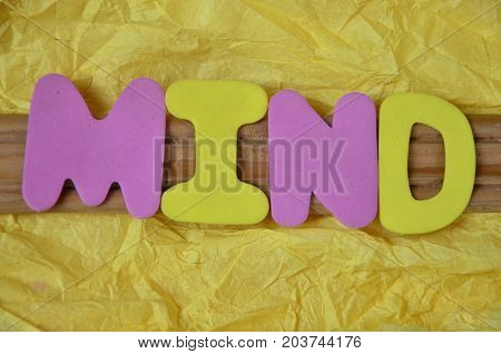 WORD MIND ON A  ABSTRACT  YELLOW BACKGROUND