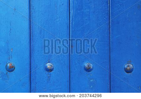 Blue Painted Wood Rivets Texture. Wooden Wall Surface Background.