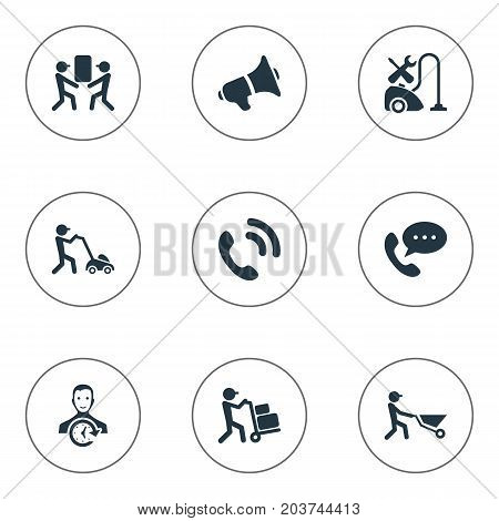 Elements Builder, Courier, Notice And Other Synonyms Help, Notice And Employee.  Vector Illustration Set Of Simple Help Icons.