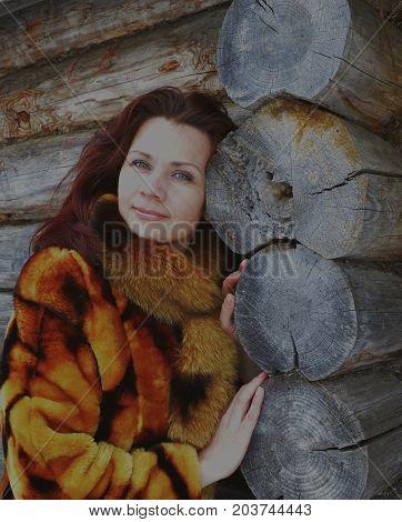 forest winter woman snow young portrait cold fur beauty coat