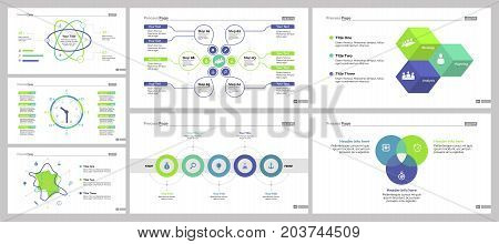 Infographic design set can be used for workflow layout, diagram, annual report, presentation, web design. Business and economics concept with process, timing, radar, Venn, flow and percentage charts.