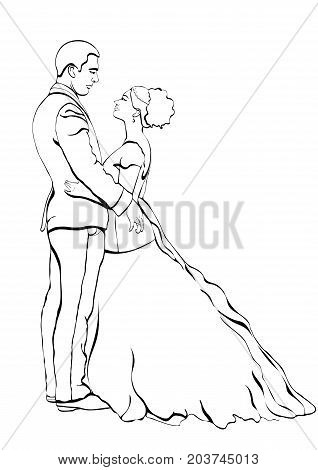 Bride and groom outline cartoon, vector contour drawing, coloring book, sketch. Couple in love hugging looking at each other, dressed in a wedding dress and a suit, isolated