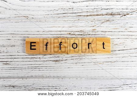 EFFORT word made with wooden blocks concept