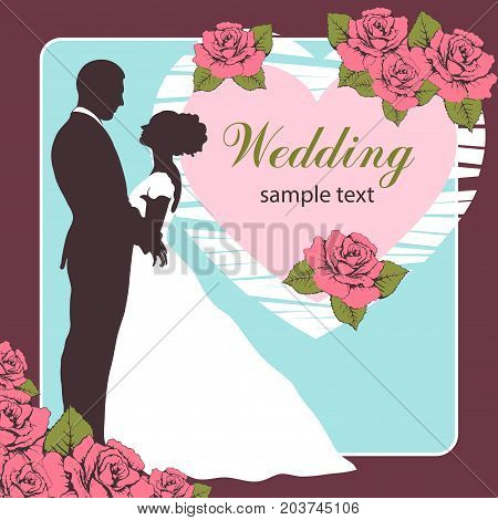 Bride and groom silhouette, wedding invitation, card, outline cartoon drawing. Couple in love hugging, dressed in a wedding white dress and a suit, and a heart decorated with roses
