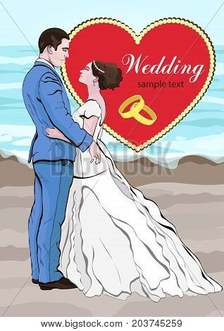 Bride and groom cartoon vector, wedding invitation, card. Couple in love hugging, dressed in a wedding dress and a suit on the background of the beach and the sea, and a heart
