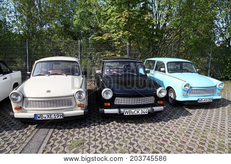 Berlin, Germany - May 12, 2017; Different colours old trabant cars in Berlin, Germany