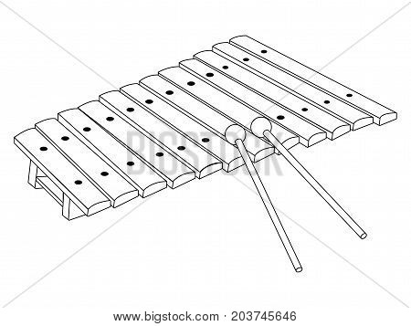Isolated Xylophone Outline