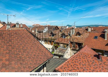 Annecy France - May 25 2016: Roofs of medieval buildings at sunny spring day in Annecy France