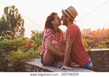 Young couple in love on the balcony