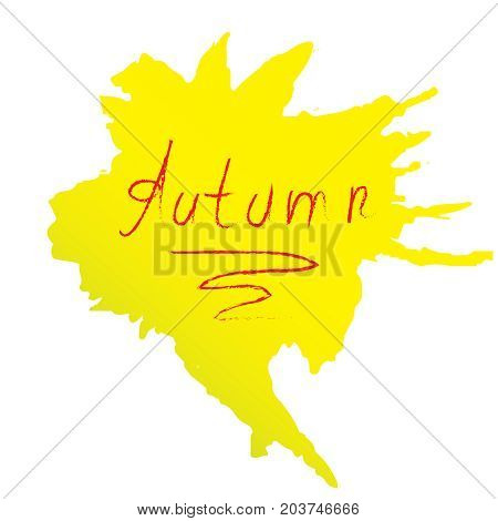 Yellow spot with the word autumn. Vector drawing