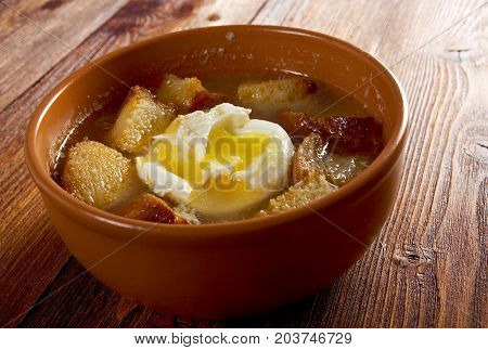 sopa de ajo castilian garlic soup.farm-style  , close up meal