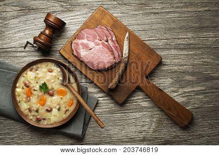 Barley porridge boiled with beans potato and carrot