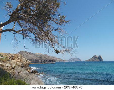 paisaje de playa con la costa e isla