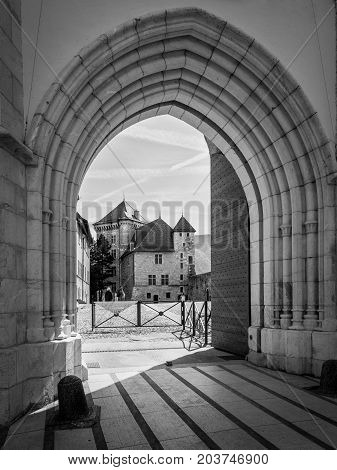 Annecy France - May 25 2016: The Annecy Castle (Chateau d'Annecy) at town of Annecy in the Haute-Savoie department of France. Black and white photography.
