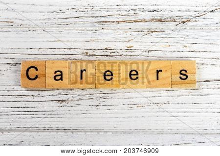careers word made with wooden blocks concept