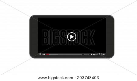 Vector modern video player window. Smartphone screen on white background