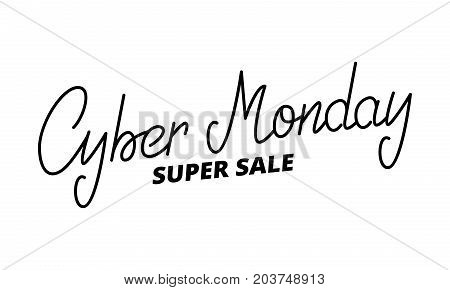 Cyber Monday. Hand lettering Cyber monday. Super sale seasonal typography.